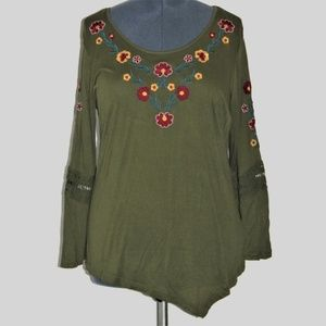 NY Collection Tunic Top Olive Green Extra Large